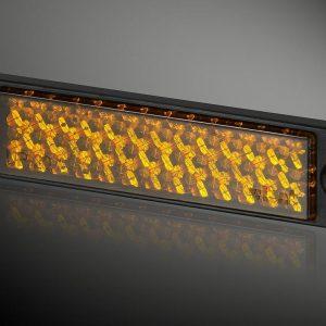 Odblask prostokątny UP-20L RC żółty  21 x 90mm, 2 otwory, ramka czarna